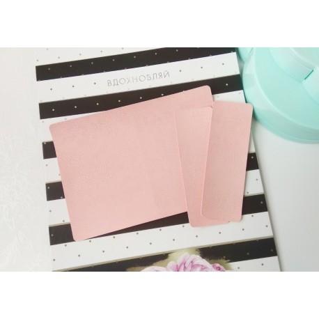 Заготовка на паспорт из Итальянского переплетного кожзама Светло-розовый глянцевый