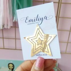 Набор звезд, 4 шт, золотой зеркальный пластик
