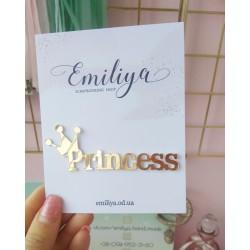 Princess с короной 9.2х3.3 см золотой зеркальный пластик