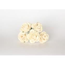 Maxi роза Молочная  4 см с закругленными лепестками