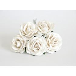 Maxi роза Белая  4 см с закругленными лепестками