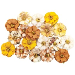 Цветы Prima Marketing Mulberry Paper Flowers Pumpkin Spice/Autumn Sunset  18 шт