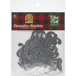 Набор высечек Decorative Numbers My Favorite Christmas Silver Foil 53 шт,  Echo Park