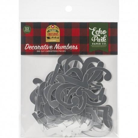 Набор высечек Decorative Numbers My Favorite Christmas Silver Foil 53 шт,  Echo Park