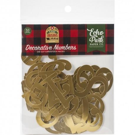 Набор высечек Decorative Numbers My Favorite Christmas Gold Foil 53 шт,  Echo Park