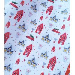 Упаковочная бумага Новогодние домики 61*90 см