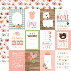 "Лист скрапбумаги BABY GIRL 3""X4"" Journaling Cards 30,5*30,5 см, Echo Park Paper"