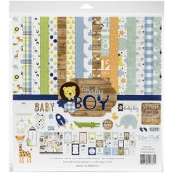 Набор бумаги BABY BOY, 12 л+1 л с наклейками, Echo Park Paper