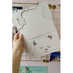 Заготовка для тиснения Мишка девочка с бордюром 21х16,7 см, толщина 1,5мм