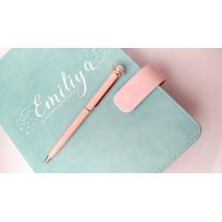 Шариковая ручка Розовая с Короной + Жемчуг, металл, в индивидуальной пластиковой  упаковке