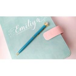 Шариковая ручка Голубая с Короной + Жемчуг, металл, в индивидуальной пластиковой  упаковке