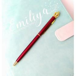 Шариковая ручка Красная с Короной, металл, в индивидуальной пластиковой  упаковке