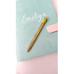 Шариковая ручка Золото с Ананасом, металл, в индивидуальной пластиковой  упаковке