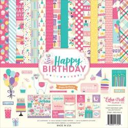 Набор бумаги Happy Birthday Girl, 30х30 см12 л+1 л с наклейками, Echo Park Paper